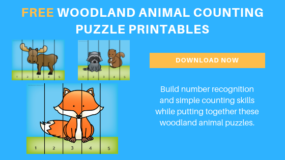 woodland animals counting puzzles