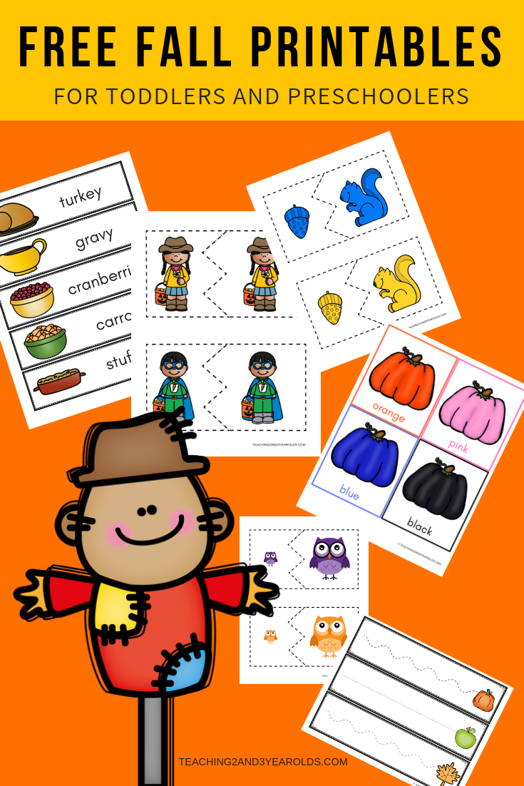 Free Fall Printables for Toddlers and Preschoolers - Halloween, Thanksgiving, Leaves, Pumpkins, Apples, Nocturnal Animals, and more!