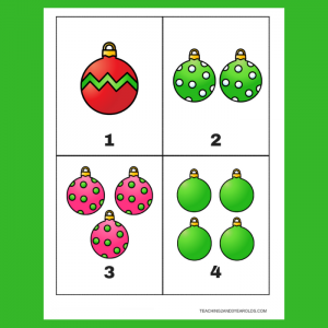 Christmas Ornament Counting Cards 1-10