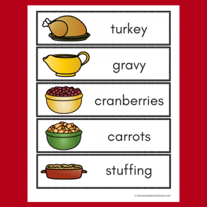 Thanksgiving Dinner Printables for Pretend Play