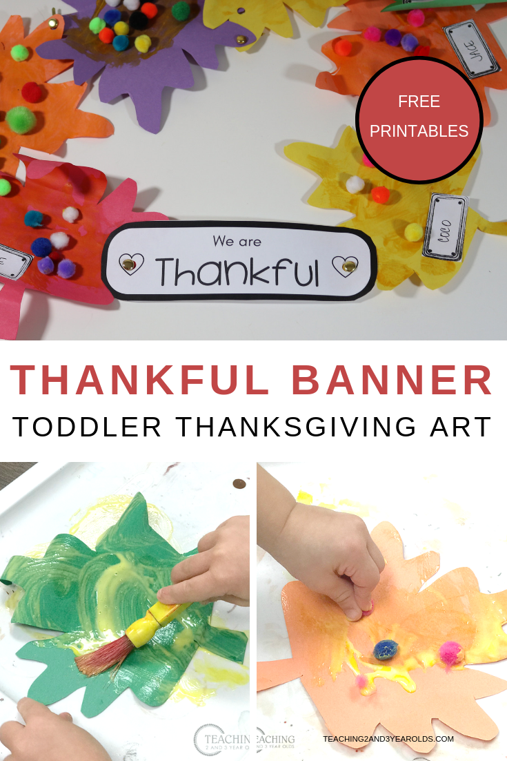 Create a simple toddler thankful banner using colorful leaves, glue, and pom poms. A festive decoration to hang in the classroom! Comes with free printable labels.