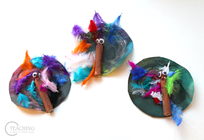 How to Make a Toddler Turkey Craft with Watercolors and Feathers