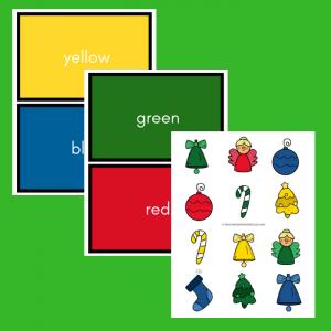 free preschool Christmas color matching printable