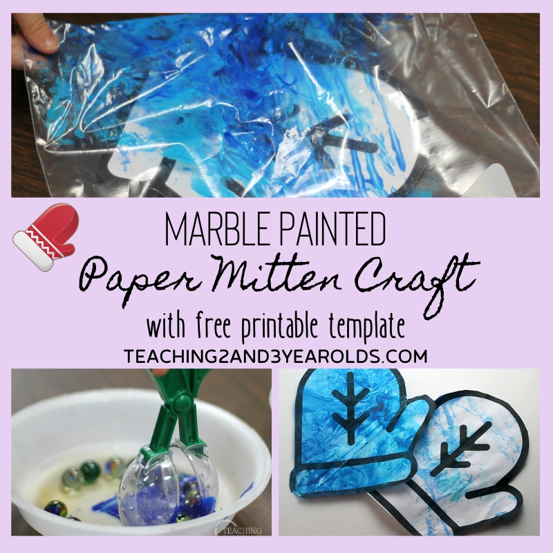 Marble Painted Winter Mitten Craft {Free Printable}