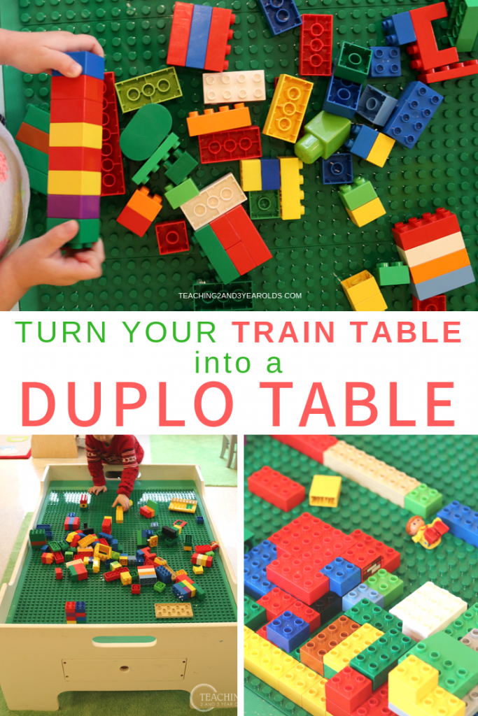 We love our train table, but there are times when we would rather use it for construction in our block area. We've found the easiest solution that converted our table into a fun Duplo building area!
