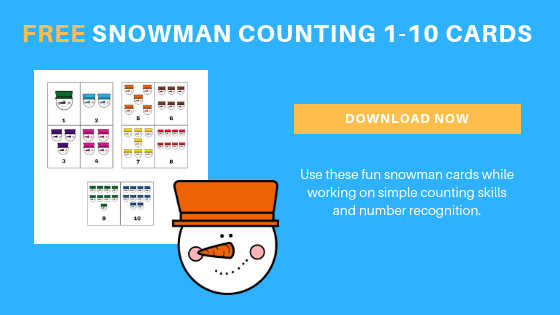 Free Toddler Preschool Snowman Counting Cards 1-10
