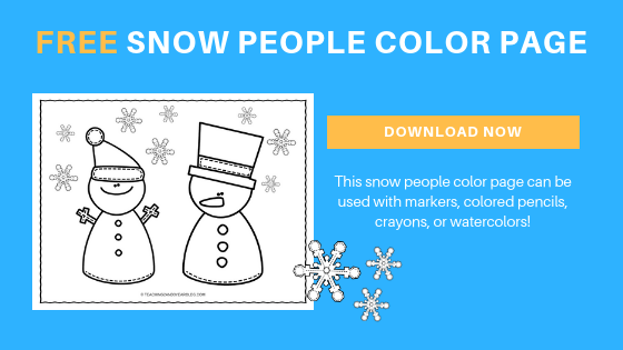 free winter snow people color page for toddlers and preschoolers