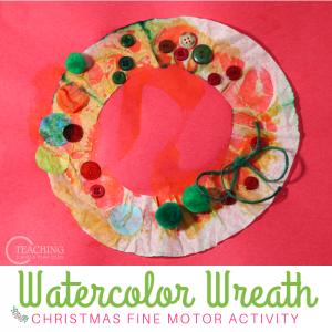 Watercolor Preschool Wreath Craft that Builds Fine Motor Skills