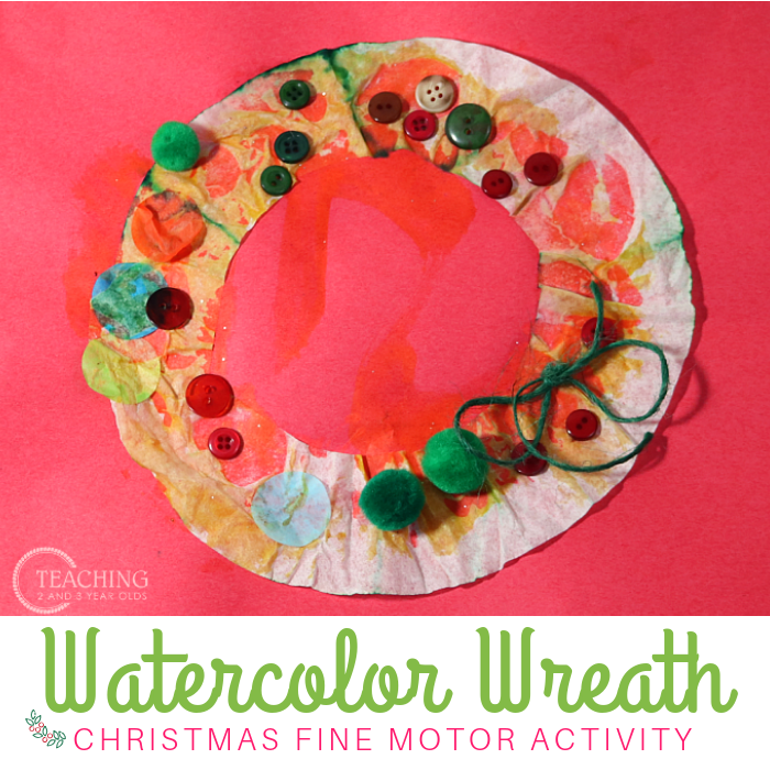 Watercolor Preschool Wreath Craft that Builds Fine Motor Skills