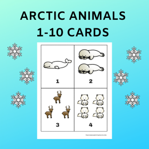 Free Arctic Animals 1-10 Counting Cards Activity