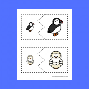 free toddler preschool arctic animals matching puzzle cards