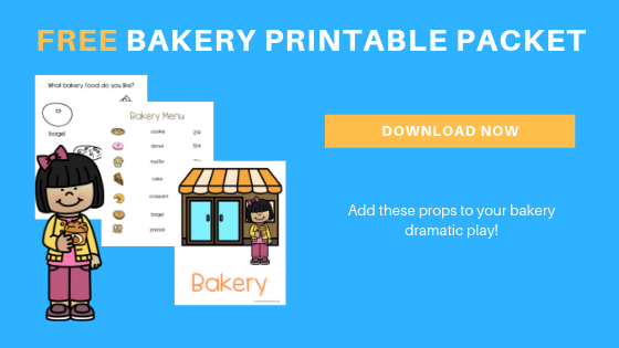 free preschool dramatic play bakery printable packet