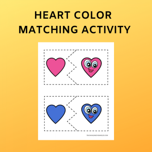 Hearts Color Matching Printable Puzzle
