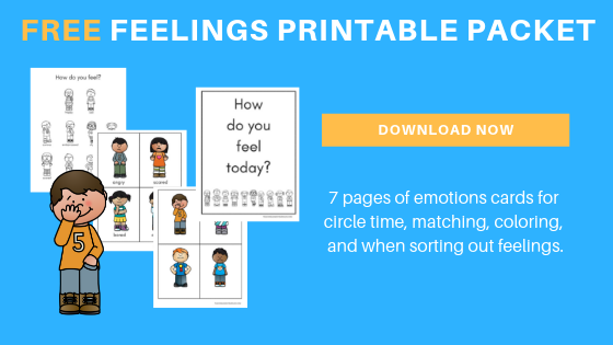 free toddler preschool feelings printable packet