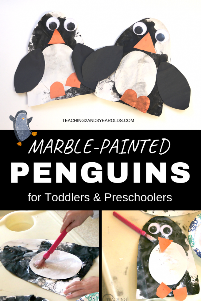 This toddler and preschool penguin craft involves a process art activity that uses marbles to paint the body. Once it's dry, add the details and hang on the wall. Adorable!