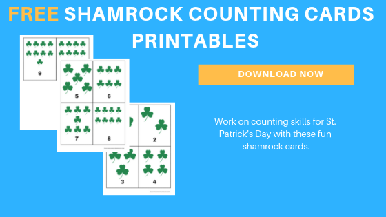 free toddler preschool shamrock counting cards printables
