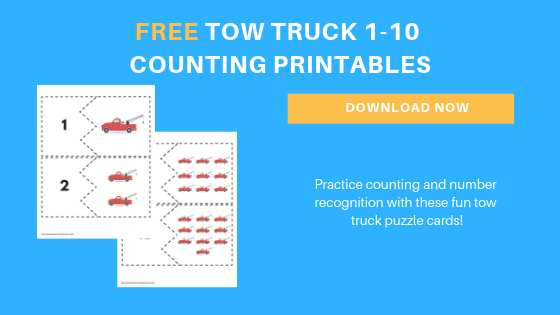 free preschool tow truck counting printable cards