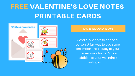 free preschool valentines love notes printable