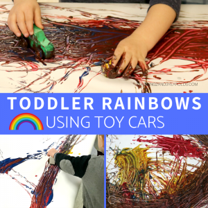 Looking for a super easy and fun toddler rainbow activity? Grab those toy cars and drive them through puddles of paint, making a rainbow on sheets of paper. A fun action art idea!
