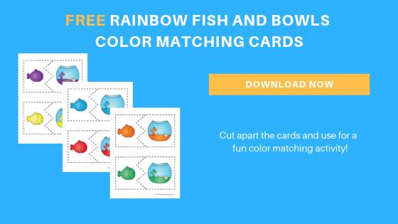 Free toddler preschool rainbow fish color sorting printables