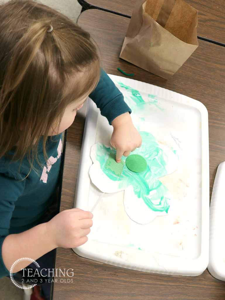 Toddler Shamrock Collage Art for St. Patrick's Day