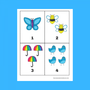 Free Spring 1-10 Counting Cards Printable