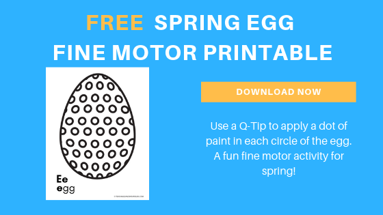 Preschool Easter egg Fine Motor Printable