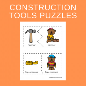 Free Construction Tools Matching Puzzles Printables