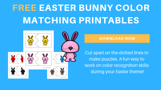 free toddler preschool Easter bunny color matching printables