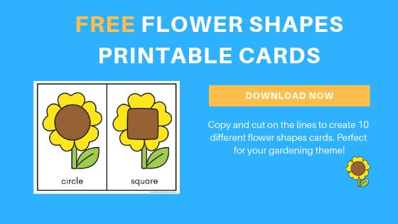 free preschool flower shapes printable cards