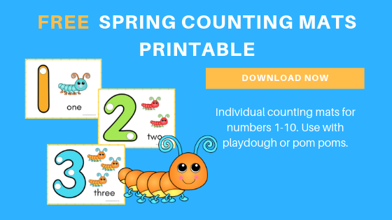 free toddler preschool spring counting mats printables