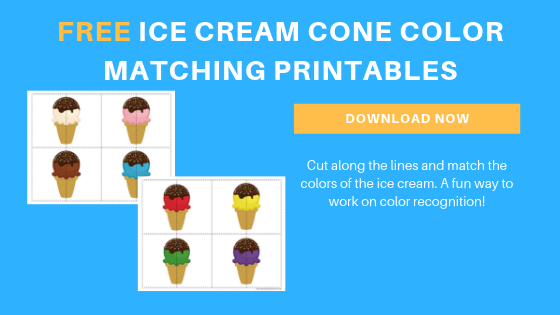 free toddler preschool ice cream color matching printables