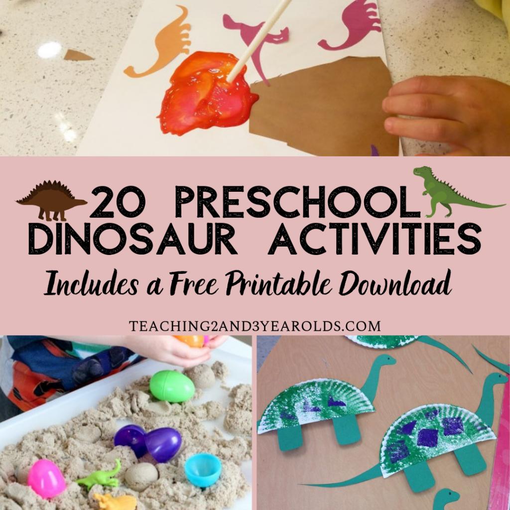 20 preschool dinosaur activities with free printable