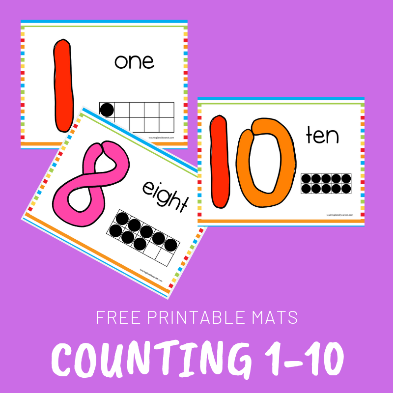 photo regarding Printable Mats named Free of charge Counting Participate in Dough Printable Mats for Babies and