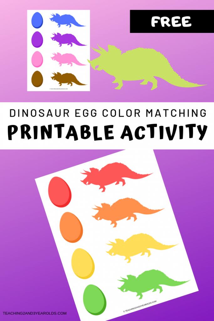 Free preschool dinosaur color matching printable activity
