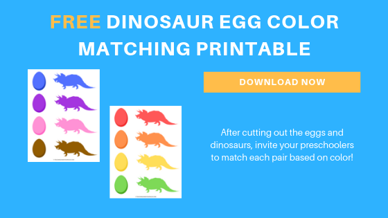 Free preschool dinosaur color matching printable activity