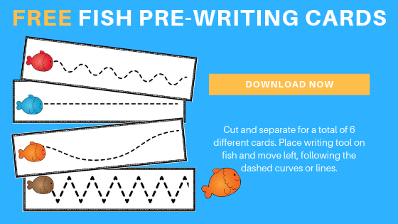 Free preschool fish pre-writing printable