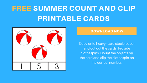 free preschool summer count and clip cards printable