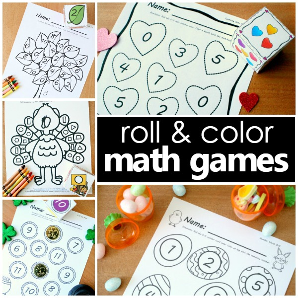 preschool roll and color math games