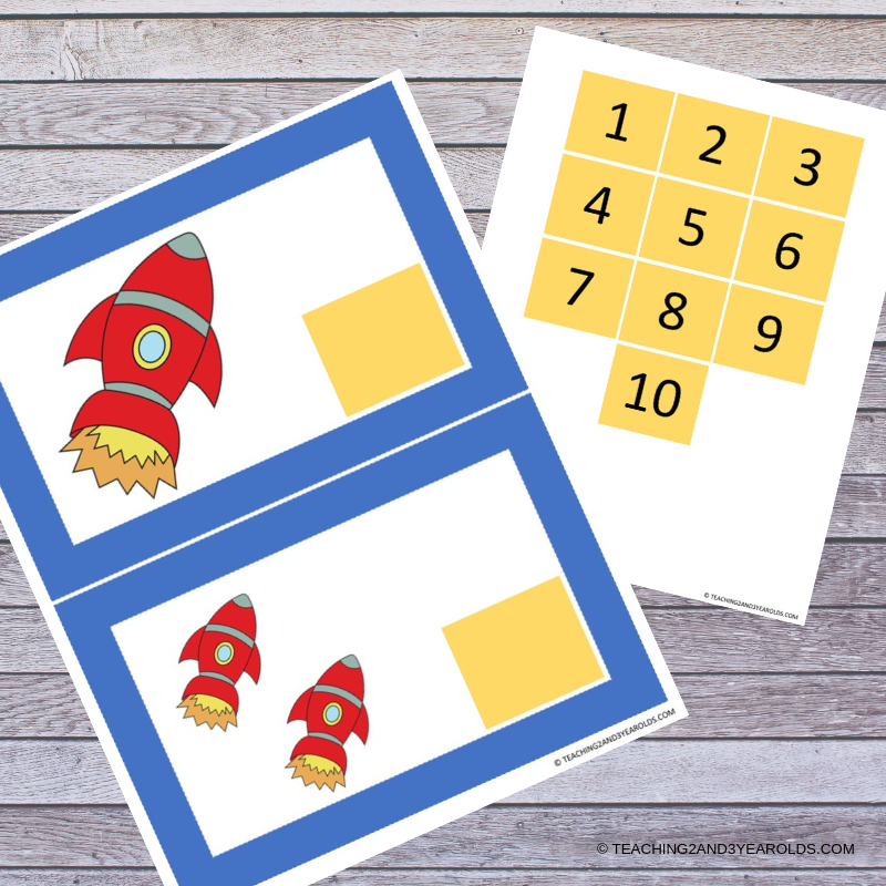 preschool space rocket counting activity printable