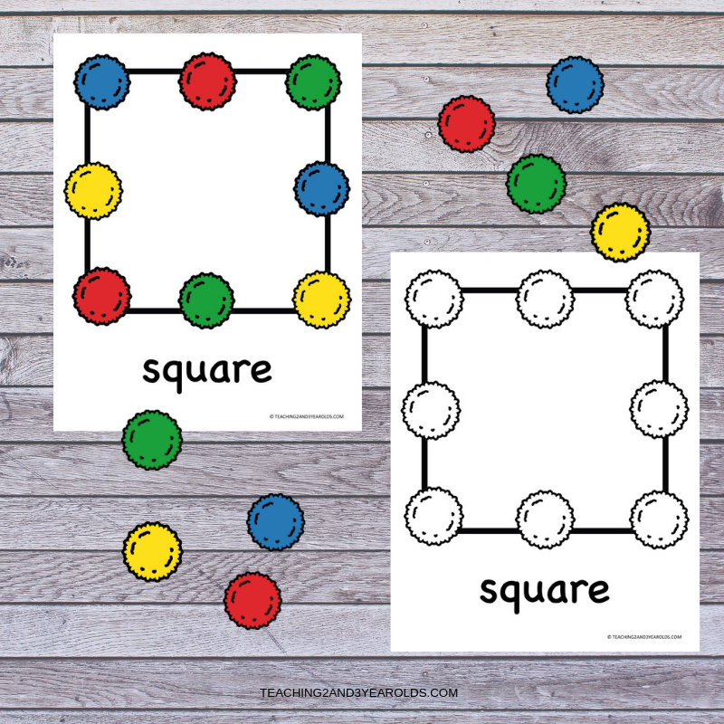 Free Pom Pom Shapes and Colors Printable