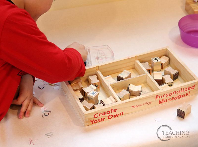 toddler preschool writing center