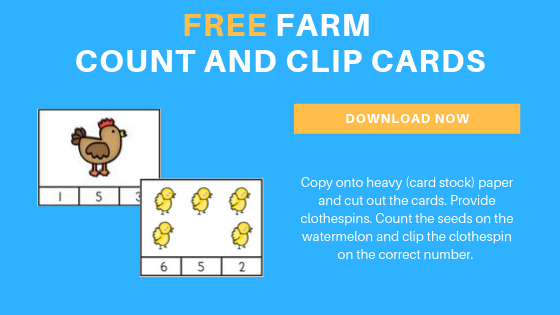 Free Farm Count and Clip Printable Cards for Preschoolers