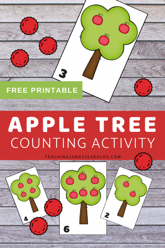 graphic relating to Free Printable Activities for Toddlers named Apple Counting Printable Game for Babies and Preschoolers