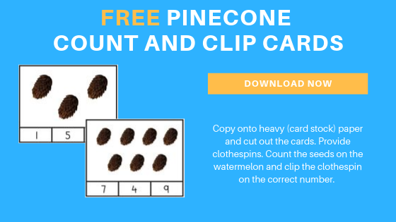 Free Preschool Pinecone Count & Clip Math Printable