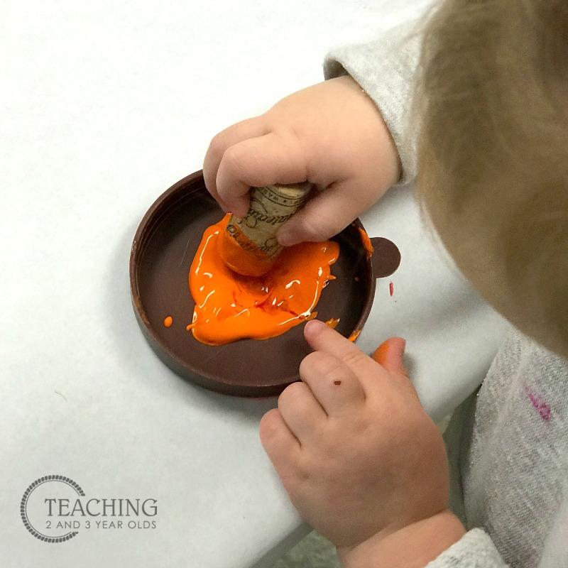 Fall Process Art for Toddlers Using Corks
