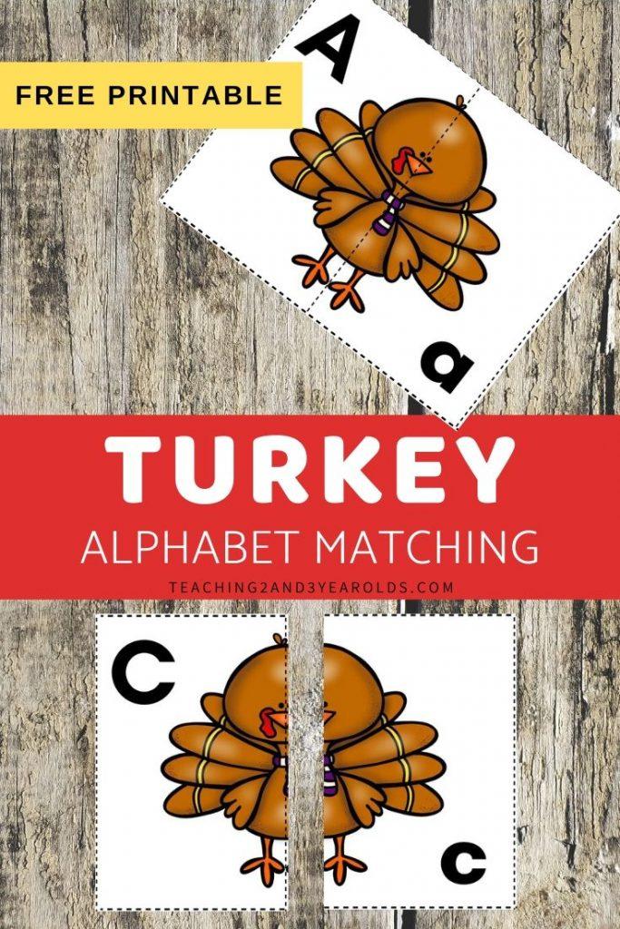 Thanksgiving Alphabet Matching Activity {Turkey Printable Cards}