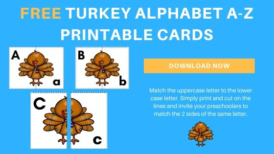 Thanksgiving Alphabet Matching Activity {Turkey Printable Cards}