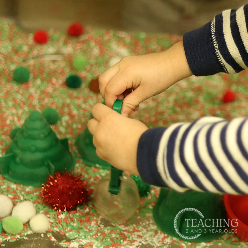 Easy Christmas Sensory Table with Pom Poms