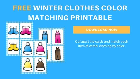 winter clothing color matching printable